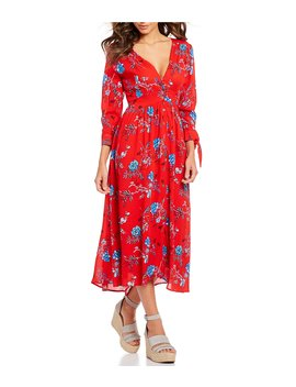 Floral Print Tie Sleeve V Neck Midi Dress by Sugarlips