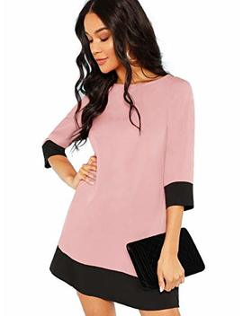 Floerns Women's 3/4 Sleeve Boat Neck Color Block Tunic Dress by Floerns