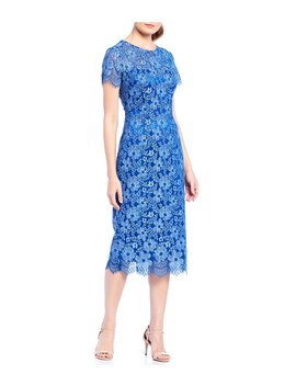 Embroidered Lace Midi Sheath Dress by Js Collections