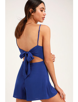 Roxanna Cobalt Blue Tie Back Romper by Lulus