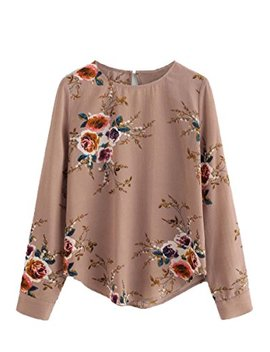 Floerns Women's Keyhole Flower Print Sleeve Round Neck Blouse Top by Floerns