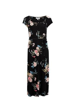 Petite Black Floral Print Ruched Midi Dress by Dorothy Perkins