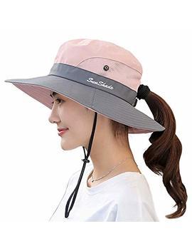 ponytail-womens-summer-sun-bucket-hats-uv-protection-safari-hiking-wide-brim-beach-foldable-mesh-fishing-cap by fordicher
