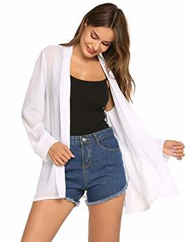 Hotouch Womens Sheer Cardigan Long Sleeve Open Front Lightweight Cardigans Chiffon Cover Up S~Xxl by Hotouch
