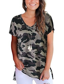 Women's V Neck Summer Floral Printed Casual Tee Shirts Short Sleeve Side Slit Blouses Tops by Andaa