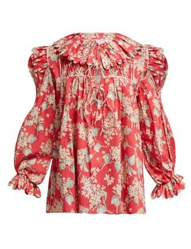 Electra Floral Print Cotton Blouse by Horror Vacui