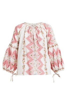 Tidewater Floral Print Cotton Blouse by D'ascoli