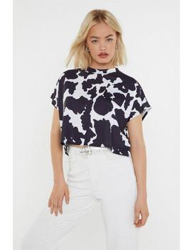 Cow Print Cropped Pocket Tee by Nasty Gal