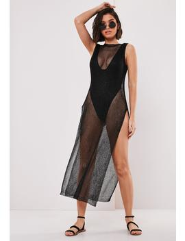 Black Metallic Side Split Maxi Dress by Missguided