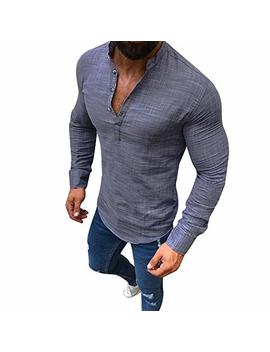 Shirts For Mens, Pervobs Men Loose Linen Long Sleeve Solid V Neck Casual Button Up Fit T Shirt by Pervobs Mens Long Sleeve Shirts