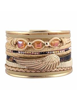 Jenia Womens Leather Cuff Bracelets Feather Wrap Bracelet Gorgeous Crystal Bangle Handmade Jewelry Bohemian Gift For Teens Girls, Mother, Sister, Daughter by Jenia