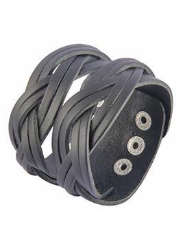 Jenia Genuine Leather Cuff Bracelet Punk Braided Bracelets Rock Leather Wristbands Adjustable Belt Wrap Bracelet Handmade Jewelry For Men, Boy, Kids, Biker, Women by Jenia