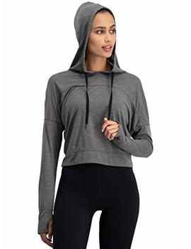 Dry Fit Crop Tops For Women   Long Sleeve Crop Top Hoodie   Women's Workout Pullover Top With Thumb Holes by Three Sixty Six