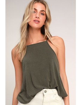 Juniper Olive Green Ribbed Square Neck Tank Top by Lulus