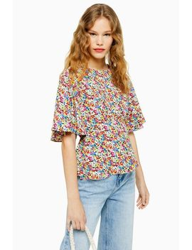 Austin Floral Print Angel Sleeve Blouse by Topshop