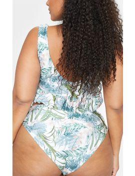Plus Khaki Leaf Print Bikini Bottom  by Prettylittlething