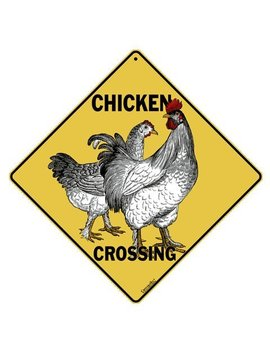"Crosswalks Chicken Crossing 12"" X 12"" Aluminum Sign by Crosswalks"