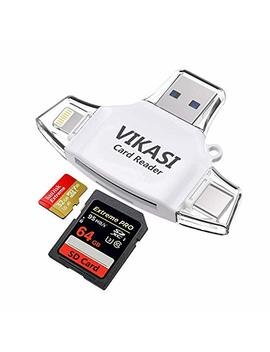 Vikasi Sd Card Reader,Memory Micro Sd Card Reader Usb Type C Adapter Viewer Compatible With I Phone I Pad Android Mac   With Lightning Micro Usb Type C 4 In 1 (White) by Vikasi