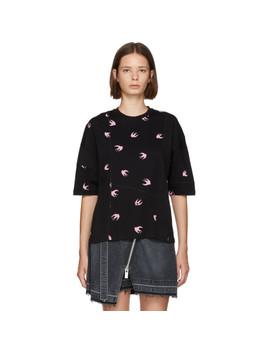 Black & Pink Swallow Ergonomic T Shirt by Mcq Alexander Mcqueen