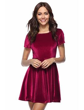 Mari Cias Women's Short Sleeve Crew Neck A Line Mini Pleated Skater Velvet Dress by Mari Cias