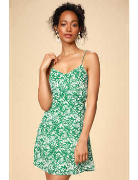 On The Riviera Green Floral Print Tie Back Mini Dress by Lulus