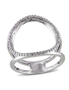 Miadora Sterling Silver Open Circle Diamond Ring by Miadora