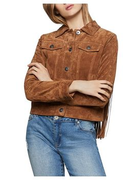 Fringed Suede Trucker Jacket by Bcbgeneration
