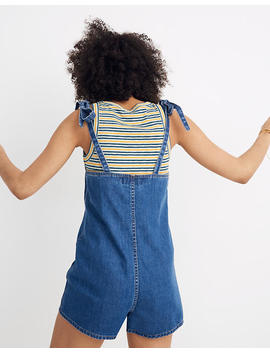Tie Strap Short Overalls In Marston Wash by Madewell