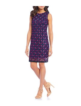 Petite Size Contrast Lace Shift Dress by Ignite Evenings