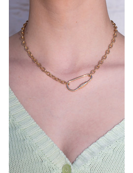 Gold Carabiner Chain Necklace by Brandy Melville