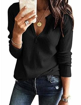 Womens V Neck Shirts Long Sleeve Waffle Knit Loose Fitting Warm Tee Tops by Dellytop