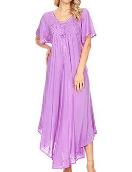 Sakkas Lilia Embroidered Lace Up Bodice Relaxed Fit Maxi Sun Dress by Sakkas