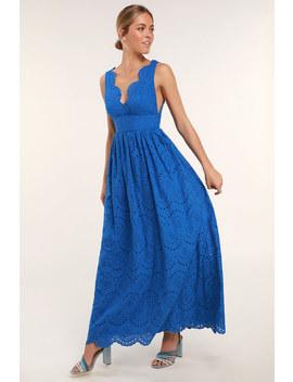 Splendid Cobalt Blue Eyelet Lace Maxi Dress by Lulus