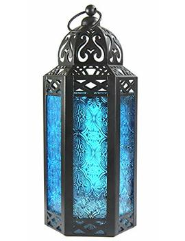 Blue Glass Moroccan Style Candle Lantern   Great For Patio, Indoors/Outdoors, Events, Parties And Weddings by Vela Lanterns