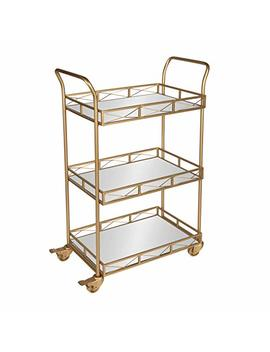 Kate And Laurel Ketia 3 Shelf Metal And Mirror Tray Bar, Kitchen, Multi Purpose Cart, Gold by Kate And Laurel
