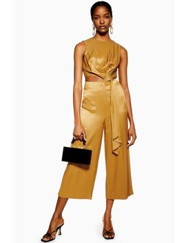Bronze Satin Twill Jumpsuit by Topshop