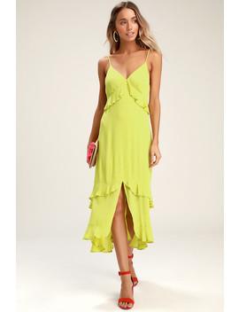 Island Time Lime Green Ruffled Midi Dress by Lulus