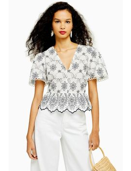 Contrast Embroidered Top by Topshop