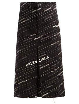 Monogram Print Denim Midi Skirt by Balenciaga