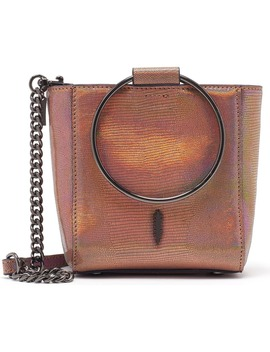 Mini Le Bucket Embossed Leather Ring Handle Bag by Thacker