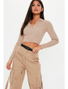 Tan Collared Button Knitted Crop Top by Missguided