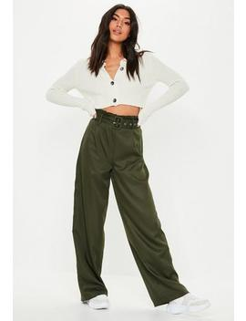 High Waist Paperbag Hose Mit Gürtel In Khaki by Missguided