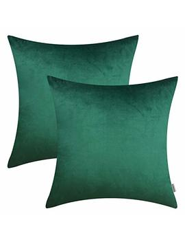 """Homfiner 20x20 Inch Quality Velvet Solid Decorative Throw Pillow Covers For Couch Sofa Bedroom Emerald Green 20"""" Pack Of 2 by Homfiner"""