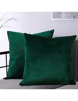 B Gment Soft Velvet Cushion Cover, Decorative Square Throw Pillow Case For Sofa Car, Bedroom, Living Room, 18x18 Inch   Emerald Green by B Gment