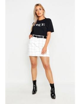 Plus Window Pane Check Denim Skirt by Boohoo