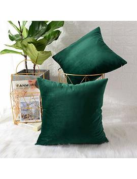 Mernette Pack Of 2, Velvet Soft Decorative Square Throw Pillow Cover Cushion Covers Pillow Case, Home Decor Decorations For Sofa Couch Bed Chair 18x18 Inch/45x45 Cm (Velvet Dark Green) by Mernette