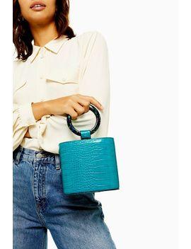 Gaze Turquoise Crocodile Grab Bag by Topshop