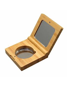 Bamboo Empty Eye Shadow Case Box Single Aluminum Palette Pans Magnetic Eyeshadow Makeup Palette Cosmetics Organizer Container With Makeup Brush For Eye Shadow, Blush, Powder by Mollensiuer