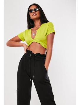 Neon Lime Short Sleeve V Neck Crop Top by Missguided