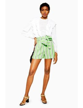 Green Stripe Shorts by Topshop